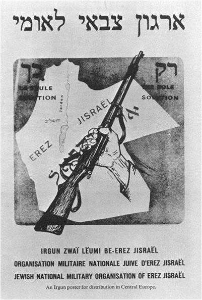 Irgun Poster Showing All of the Mandate Area as Israel