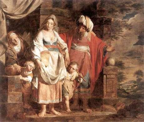 Ishmael & Hager, Isaac & Sarah with Abraham