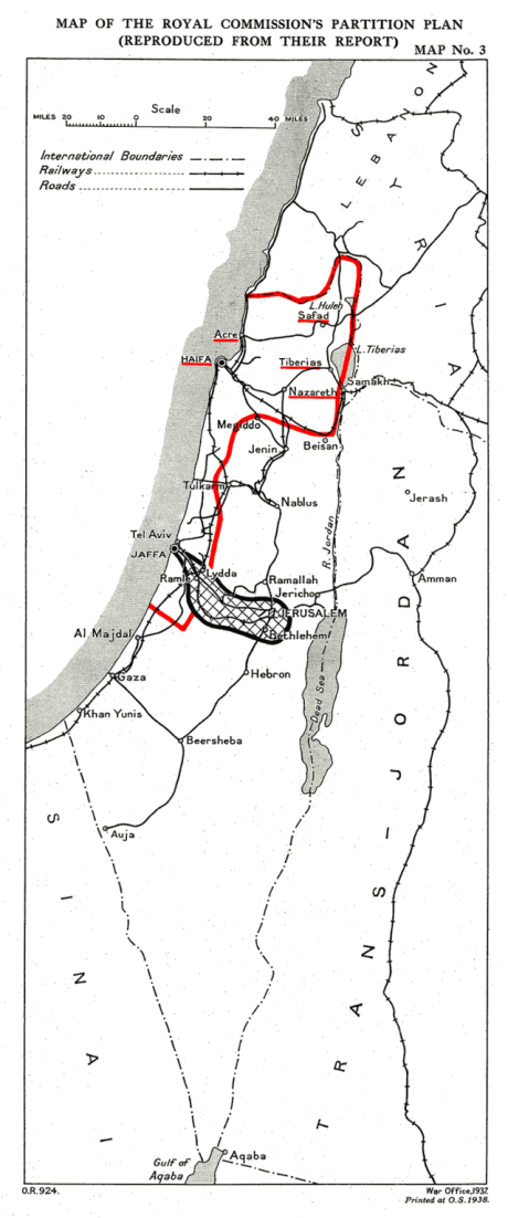 Peel Partition Plan (red boundary for Jews)