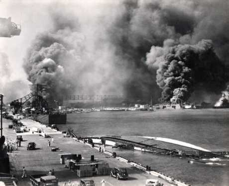 View from Pier 1010 with USS Shaw & Nevada Burning